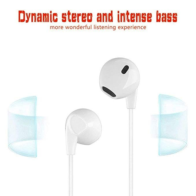 New Collection Earbuds Earphones Stereo Earphone Wired Noise Isolating Headphones with Mic and Remote Control for iPhone iPod iPad Samsung Android Smartphones Tablet Laptop 3.5mm [White] [2- PACK]